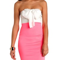 BOW-TOPPED COLOR BLOCK BODYCON DRESS