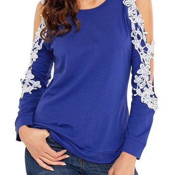 Chic Lace Trim Cold Shoulder Royal Blue Long Sleeve Top
