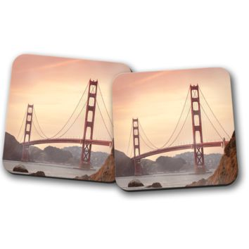 Golden Gate Bridge Set of Coasters, Home Decor, Kitchen Sets, Table Designs, 2 Coasters