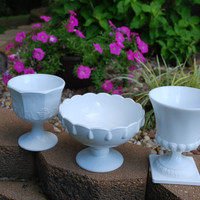 Set of Three Large Milk White Milk Glass by AGlimpseFromthePast