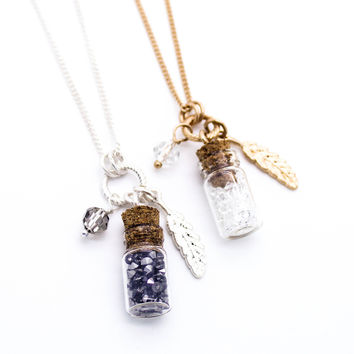Feather glass bottle long necklace