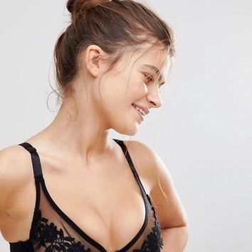 Wolf & Whistle Floral Mesh B-G Cup Bra at asos.com