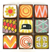 5x5 Art Block Trio Mix and Match CHOOSE any 3 by redtilestudio