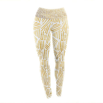 "Pom Graphic Design ""Inca Gold Trail"" Yellow Brown Yoga Leggings"