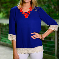 Crochet Love Blouse, Royal