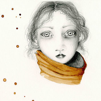 Pencil Drawing Illustration / Drawing Giclee Print of my Original Pencil Drawing Coffee Staining brown teamt