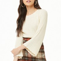 Ribbed Knit Bell-Sleeve Top