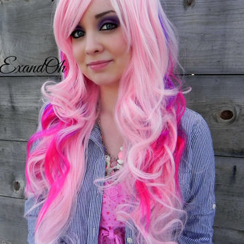 BLACK FRIDAY SALE // Purple and Pink Wig - Cotton Candy Wig, Pastel Hair, Cosplay Wig, Dress Up Wig - Long Curly Layered with Natural Scalp