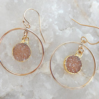 Champagne Druzy Earrings Gold Chandelier Drusy Hoop Quartz Crystal Round Circle Drops - Free Shipping Jewelry