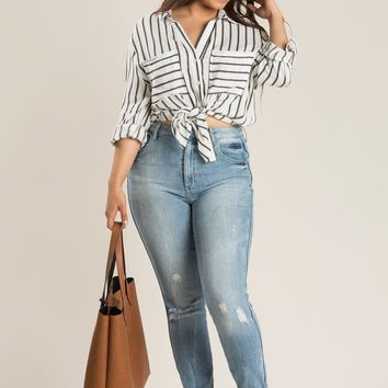 Plus Nancy Stripe Button Down Shirt