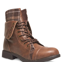 Plaid & Faux Leather Combat Boots | Wet Seal