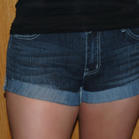 Dark Folded Denim Shorts