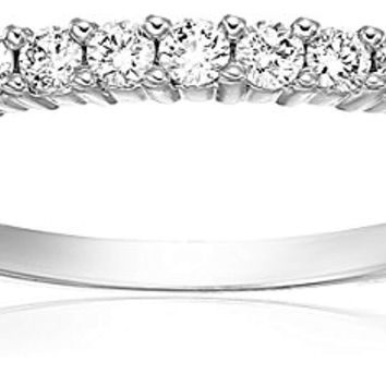 AGS Certified 1/5 ctw SI2-I1 Petite Diamond Wedding Band in 14K White Gold