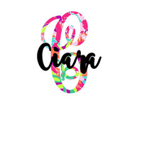 Single Initial Name Lilly Monogram Decal | Yeti Decal |   Pattern Decal | Lilly car decal | Lilly Pulitzer Yeti Sticker |