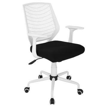 Network Height Adjustable Office Chair with Swivel White and Black by LumiSource