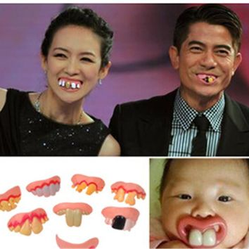 Gags Practical 4pcs/lot Funny Gags Practical Jokes Prank Freak False Teeth Set Halloween/April Fool's Day Gift Wacky Toys S3