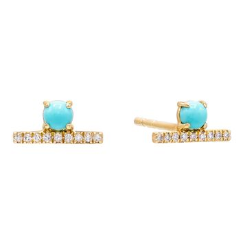 Diamond Turquoise Bar Stud Earring 14K