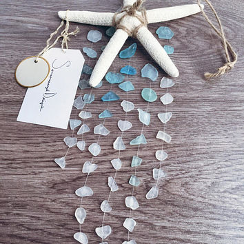 Sea Glass Mobile, Beach Decor, Starfish Mobile, Wall Art, Home Decor, Blue Wall Art, Large Mobile, Wind Chime, Wedding decor, Sea Glass