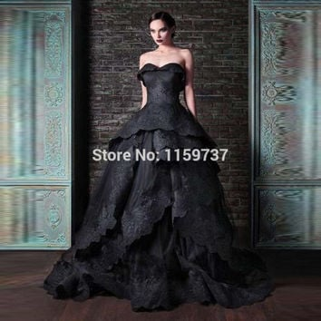 Corset Back New Arrival Prom Dress Black Elegant Vestidos Maxi Long Robe Floor Length With Appliques Custom Made