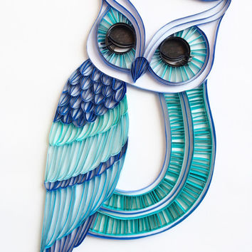 The Sleepy Owl - Unique Paper Quilled Wall Art for Home Decor (paper quilling handcrafted art piece made with love by artist in California)