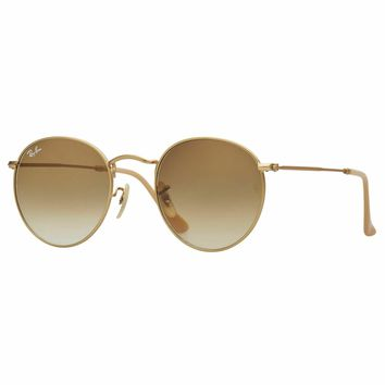 RayBan Round Metal Sunglasses - Gold Light Brown Gradient - 3447 001/51