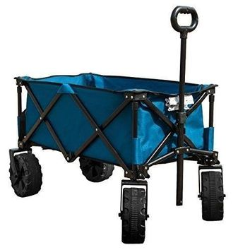 Folding Camping Wagon Cart Collapsible Sturdy Steel Frame Garden Beach Cart