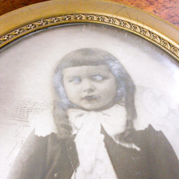 Creepy Girl Photo, Large Framed Antique Photograph, Following Eye Portrait, Halloween Decor, Oddities, Obscura