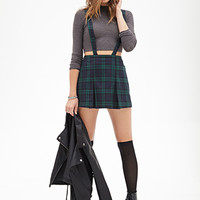 FOREVER 21 Pleated Plaid Suspender Dress Green/Navy