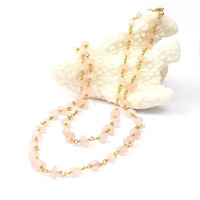 Coral Sea Pink Rose Quartz  Long Necklace