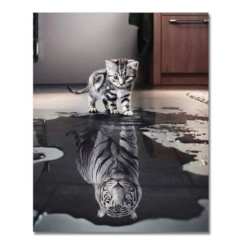 WONZOM Cat Inverted Tiger Diy Painting By Numbers Modern Animal Wall Art Picture Drawing Hand Painted Canvas Coloring Home Decor