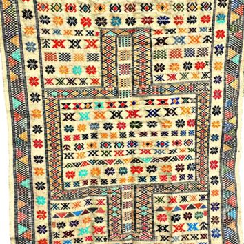 Moroccan Oued Zem Handmade Cotton Area Rug in Natural - 91 x 58 inches