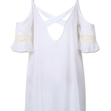 White Cut Out Cold Shoulder Lace Trumpet Sleeve Dress