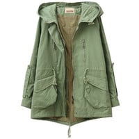 Drawstring Hooded Big Pockets Wind-coat