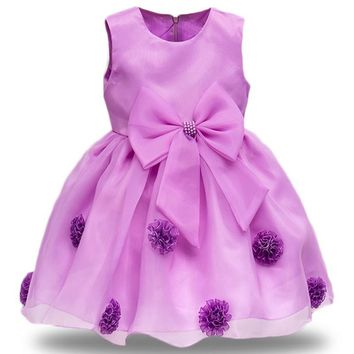 New Quality Baby Girl cloth Cute 6-colour bow dress for Girl Infant Birthday sleeveless formal flower Dress for Baby Girl formal