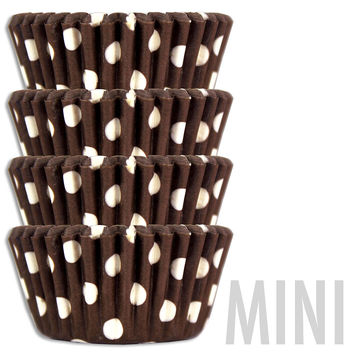 Mini Brown Polka Dot Baking Cups