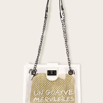 A Guava Wonders Letter Print Tote Bag  Woven Inner Clutch