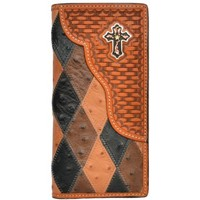 3D Patchwork Ostrich Print Natural Leather Western Rodeo Wallet