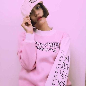 Autumn Women Hoodies Japanese BABY GIRL Letter Print Harajuku Sweatshirt Winter Casual Female Tops Shirts Loose Kawaii Outwear