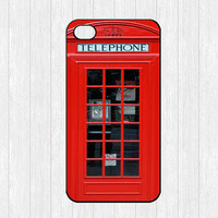 London Telephone Booth iPhone 4 Case,Vintage British Telephone box iPhone 4 4g 4s Hard Case,Red Old Antique phone cover skin case iphone