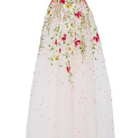 Strapless Embroidered Gown | Moda Operandi