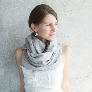 Silver grey shawl scarf for all seasons felting wool luxury cape wedding bridesmaid idea for her winter fashion cij
