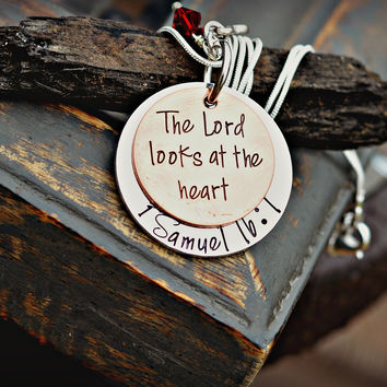 Bible Verse Jewelry - Scripture Necklace - 1 Samuel 16:7 The Lord Looks at the Heart
