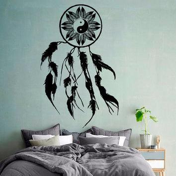 Wall Decals Dream Catcher Amulet Indian Mandala Floral Design Feather Yin Yang Sign Yoga Gym Home Vinyl Decal Sticker Interior Decor kk712