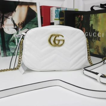 GUCCI Women Fashion Leather Crossbody Shoulder Bag Satchel