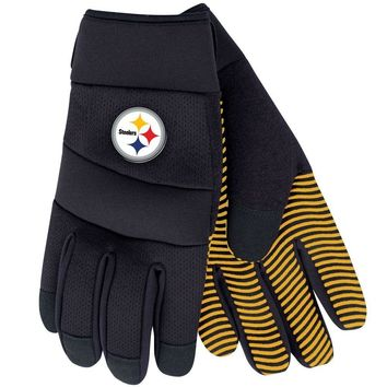 PITTSBURGH STEELERS DELUXE UTILITY WORK GLOVES ADJUSTABLE WRIST STRAP NEW