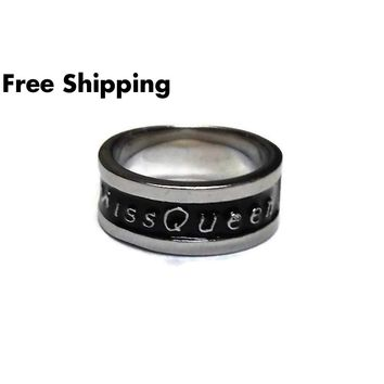 """Miss Queen"" Stainless Steel 6mm Black Enameled Diva, Rocker, Goth, Ladies' Biker Ring (size 6)"