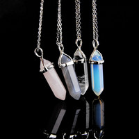 2015 Bullet Shape Natural Stone Women Real Amethyst Necklace Turquoise Crystal Gem Stone