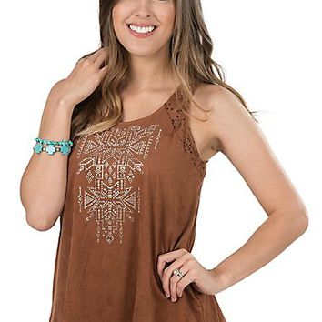 Cowgirl Hardware Women's Mocha Faux Suede with Laser Cut Out Sleeveless Fashion Top