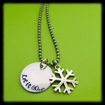 Handstamped 'Let it Go' necklace