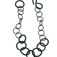 handmade black round link necklace